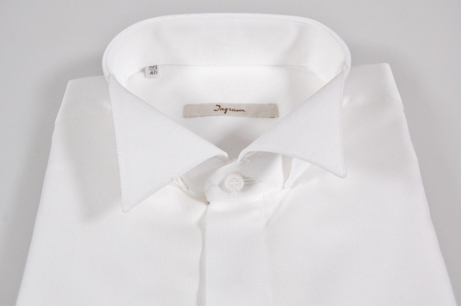 buy online 67b3e 47740 Dettagli su Camicia Elegante Cerimonia Ingram collo Diplomatico polso  doppio 100% Cotone